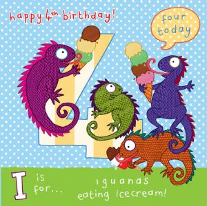 AGE 4 Boys Birthday Card, Iguanas TW060